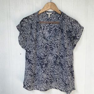 Joie Silk Blouse in Navy with Tree Pattern. Size S